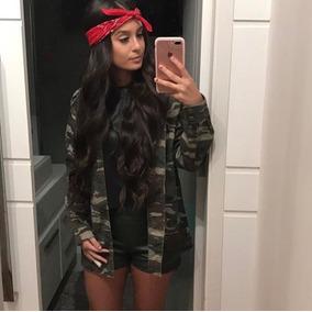 Camisa Feminina Camuflada Militar Blusa Manga Longa