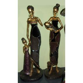 Set De 2 Figura Escultura Africana Vestido Tela Decorada