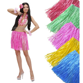 Falda Hawaiana Corta Fiesta Animacion No Incluye Collar