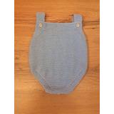 Body Macacão Azul Bebê Em Tricô Feito À Mão