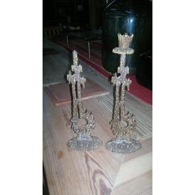 Candelabros De Bronce Ceremoniales Antiguos Arte Judio
