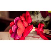 Bouquet / Buquê Coração Feltro (noiva   Daminha   Namorados)