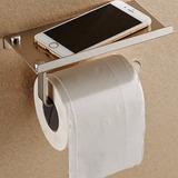 Suporte Papel E Telefone Banheiro Com Prateleira De Aço Inox