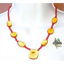 Collar Tejido Rojo Con Hermosas Piezas De Ámbar De Chiapas