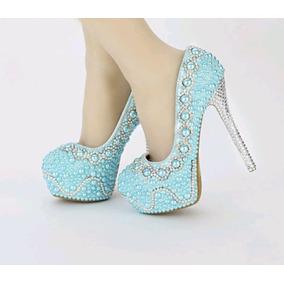 Sapato Personalizado Debutante Azul Tiffany Pérola Cinderela