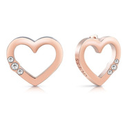 Aretes Guess Para Mujer Unchain My Heart Color Oro Rosa