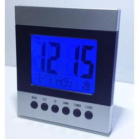 Relógio De Mesa Digital Data/hora Led Azul Senso- Botão