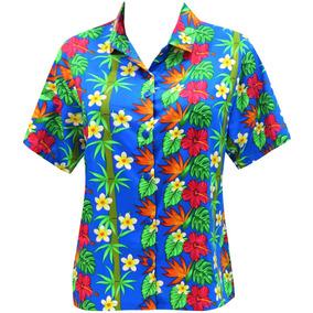 La Leela Hawaii Camisa Blusas Botón De Vestir A La Mujer Az