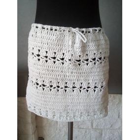 Pollera Mini Tejida Crochet Hilo Algodón
