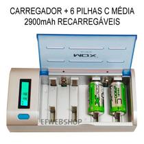 Kit Carregador Universal + 6 Pilhas Médias C 2900mah Recarre