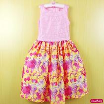Vestido Festa Infantil Rosa Princesa Saia Floral Tamanho 2