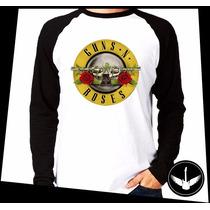 Manga Longa Guns N Roses Logo Banda Rock Blusa Camisa 07