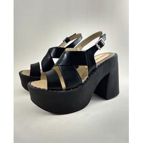 Zapato Plataforma Negro, Cuero Vacuno. Taco 11 Cms