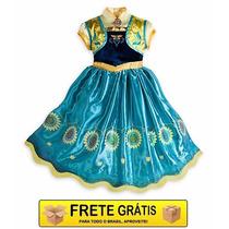 Vestido Anna Frozen Fever 9/10 Disney Lançamento Novo Filme