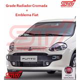 Grade Friso Cromada + Emblema Novo Fiat Punto 2014 Original