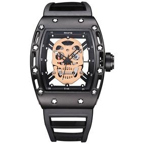 Reloj Skeleton Skone Calavera Moda Vip Skull (negro/beige)
