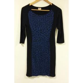 Vestido N M D Algodón Negro Azul Talle 44