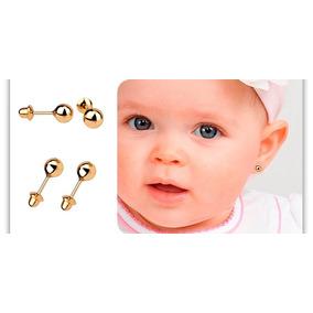 Oferta Brincos Ouro 18k Bolinha 3mm Infantil 2o Furo Bebê