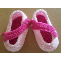 Escarpines En Crochet Para Bebé. Rosado. Largo De Pie: 9 Cm
