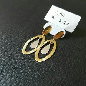 Brinco Feminino Oval Em Ouro 18k Com Detalhe Em Ouro Branco