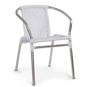 Cadeira De Alumínio Master Com Fibra Branco Varanda Sala Bar