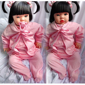 Tipo Bebê Reborn Menina 53cm + Chupeta Mamadeira Fraldas