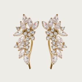 Brinco Ear Cuff Em Ouro 18k (750) Com Topázio Branco