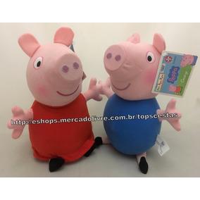 Kit Pelúcias Irmãos Pig Original Estrela : Peppa + George