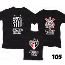Camiseta Santos Peixe Personalizada Aniversário Kit Com 3