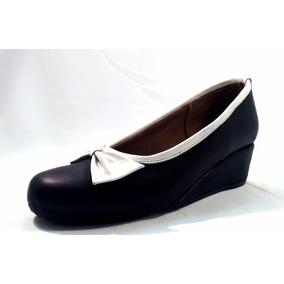 Sam123 Zapatos Taco Chino De Cuero Talles Grandes Moño Blanc