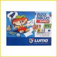 Block De Dibujo Luma Nº5 Blanco 24 Hojas. Escuela / Jardin
