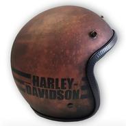 Capacete Old School -harley Davidson- Bronzetexture -