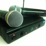Microfone Uhf Sem Fio Duplo Profissional 30 Metros Ku22 A-20