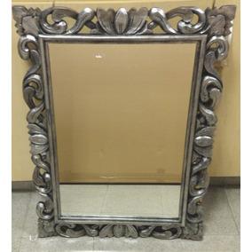 espejo con marco de madera modelo nuevo plateado