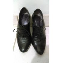 Zapatos De Cuero Mod. Oxford Marca Via Uno Color Negro T. 37