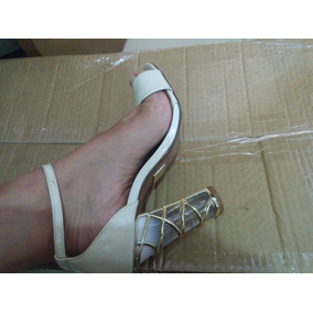 Sandalia Salto Transparente Da Marca Uza Super Oferta