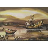 Quadro Decorativo Barcos Pintura Em Óleo Sobre Tela A Mão