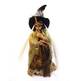Enfeite Decoração Bruxa Terror Halloween Som E Luz Dourado
