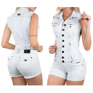 Macaquinho Pitbull Pit Bull Jean Original Feminina 25750