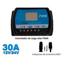 Controlador De Carga Solar 30a 12/24v, Lcd,usb, Envío Gratis