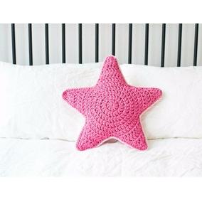 Almohadón Estrella Tejido Al Crochet De Totora Decoración