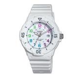 Reloj Analogo Blanco Correa De Resina Dama Lrw-200h-7bv