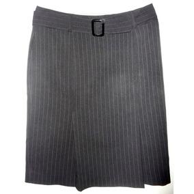 Pollera / Falda De Vestir Con Cinturón Y Dos Tablas