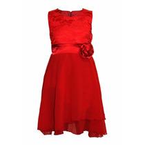 Vestido De Nena De Fiesta Con Flor Y Encaje, Brishka N-0051