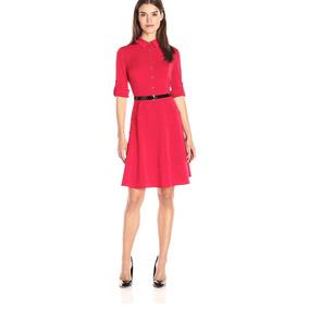 Vestido Tommy Hilfiger Rojo Con Cinto