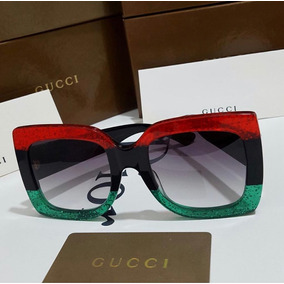 3c50550771 Lentes Gafas Sol Tipo Gucci Brillos Mujer Verde Rojo Cat Eye