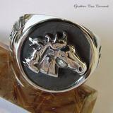 a8b06c353dd Anel Cabeça De Cavalo Em Prata Maciça Ojoalheiro