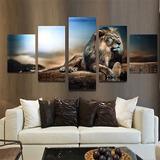 5pcs Grande Moderno Estar León Lona Impresión Pared Pintura