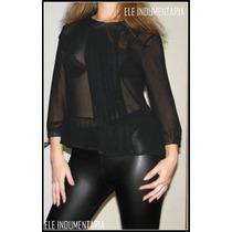 Camisa De Gasa Negra Transparente Hermoso Diseño