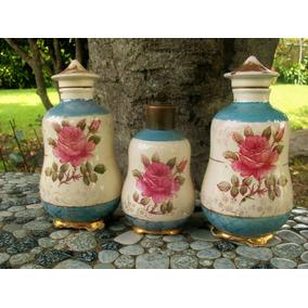 Talquera Perfumera Ceramica Lote De Tres